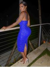 Fashion Rhinestone Decor Spaghetti Strap Bodycon Dress