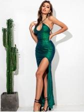 Crisscross Sequins Slit Evening Maxi Dresses