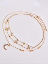 Womens Bohemia Diamonds Star Moon Pendants Layered Necklace