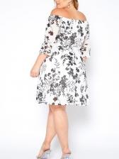 Fahion Boat Collar Off The Shoulder Print Half Sleeve Dresses