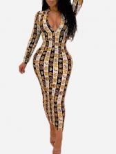 Digital Snake Print Reversible Bodycon Dresses For Women