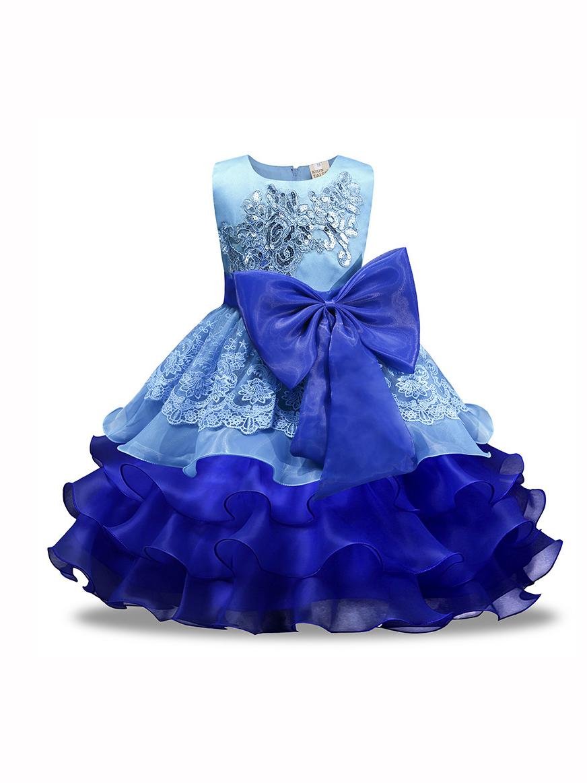 Party Big Bowknot Layered Hem Girls Flower Dress