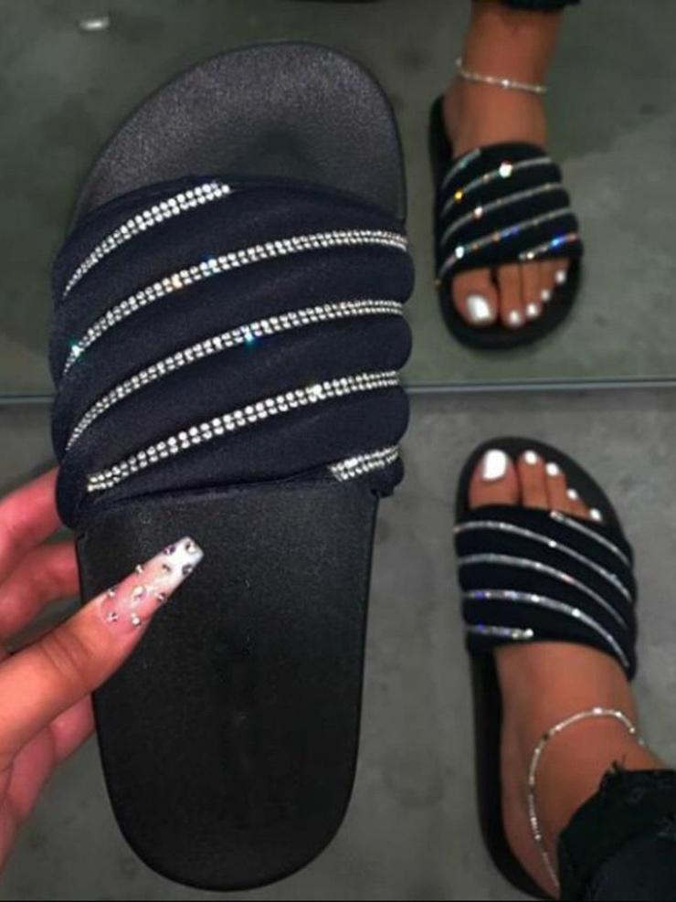 Rhinestone Decor Flat Indoor Slippers