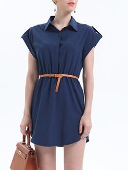 Turndown Neck Solid Color Ladies Short Dress