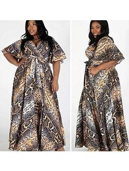 Vintage Style Snake Print Plus Size Maxi Dress