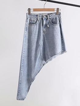 Asymmetrical Inclined Design Solid Color Denim Skirt