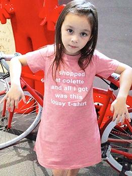 Girls Letters Sentence Printed Summer T-Shirt Dress
