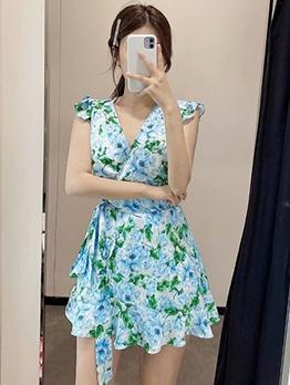 Ruffled Tie Wrap Short Sleeve Floral Dress