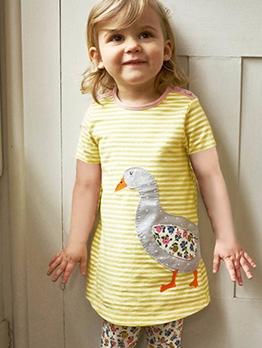 Cute Striped Little Girl Summer Casual Dress