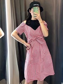 Patchwork Plaid Cold Shoulder Short Sleeve Dress