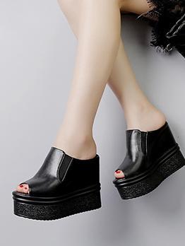 Peep-Toe High Platform Womens Slippers