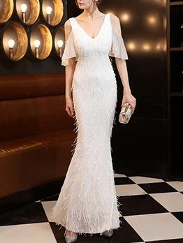 Sequin Tassel Cold Shoulder Boutique Evening Dresses For Women
