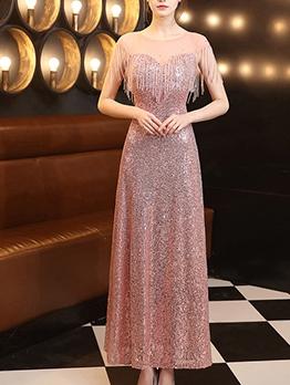 Sequined Tassel Decor Boutique Evening Dress