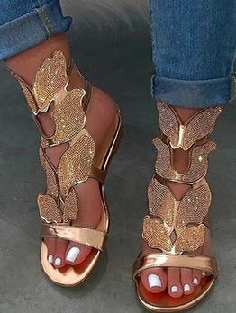 Rhinestone Butterfly Women Flat Sandal