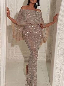 Elegant Glitter Off Shoulder Evening Maxi Dresses