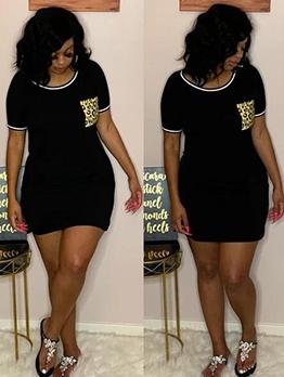 Leopard Pocket Short Sleeve Casual Dresses