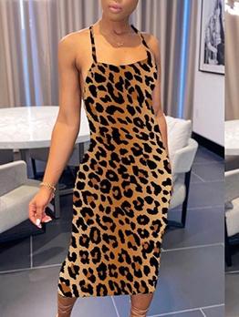 Sexy Backless Animal Print Sleeveless Maxi Dress