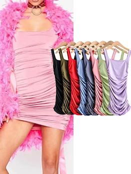 Sexy Draped Sleeveless Bodycon Dress Summer