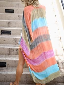 Loose Beach Printed Women Long Coat