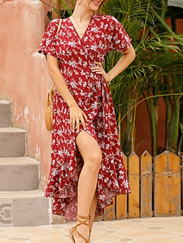 Summer Tie Wrap Short Sleeve Floral Dress