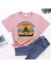 Colorful Striped Bee Print Loose Women T Shirt