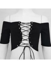 Lace Up Off Shoulder Cropped Black T Shirt