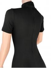 Mock Neck Solid Skinny Short Sleeve Romper