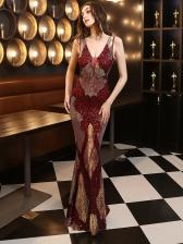 Boutique Sequin Decor Sleeveless Evening Maxi Dresses