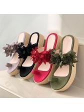 Bohemian Solid Platform Open Toe Slippers