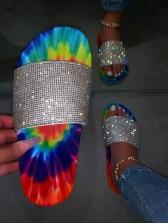 Colorful Printed Rhinestone Beach Womens Slippers