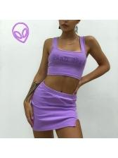 Night Club Rhinestone Top And Skirt Set
