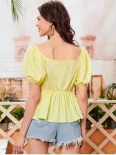 Euro Solid Puff Short Sleeve Fashion Blouse
