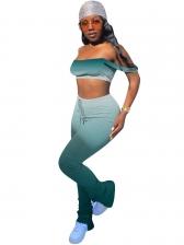Gradient Color Cropped Two Piece Pants Set