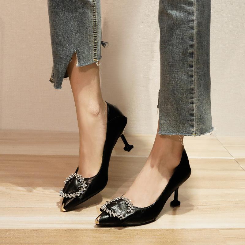 Pointed Toe Rhinestone Decor High Heels