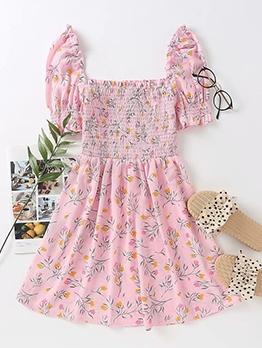 Square Collar Floral Short Sleeve Pink Dress