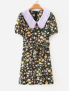 Doll Collar Floral Short Sleeve Ladies Dress