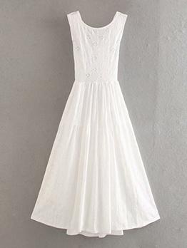 Embroidery Large Hem White Sleeveless Midi Dress