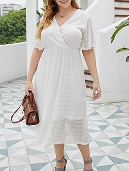 Elegant Solid Short Sleeve Plus Size Dresses