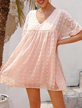Loose Flocking Solid Short Sleeve Dress