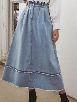 Retro Solid Denim a Line Skirt