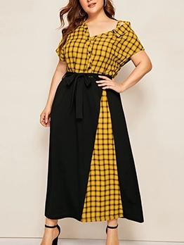 Contrast Color Tie-Wrap Plaid Plus Size Maxi Dress
