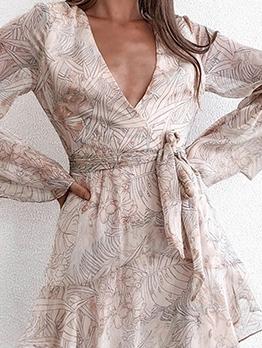 Deep v Printed Wrap Long Sleeve Dress