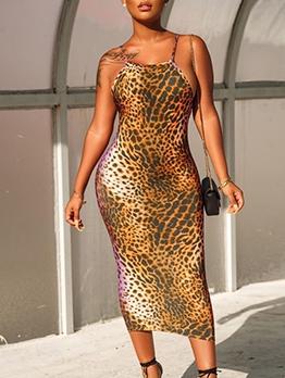 Animal Printed Sexy Backless Midi Dress