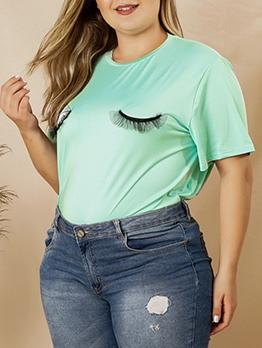 Eye Pattern Plus Size Casual Wear Cheap T Shirt