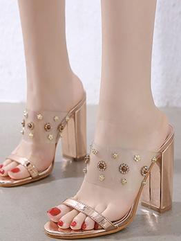 Rhinestone Decor Chunky Heel Womens Slippers