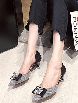 Glitter Rhinestone Slip On Women Heels