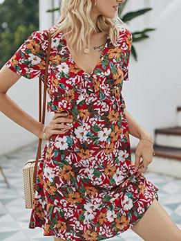 Ruffle Detail v Neck Short Sleeve Floral A-Line Dress