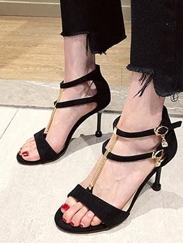 Chain Decor Suede Ladies Heel Sandal