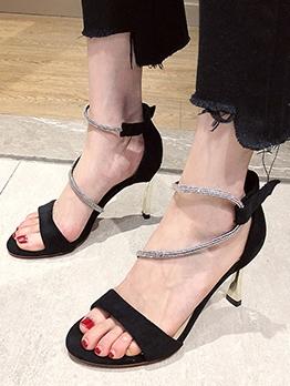Trendy Round Toe High Heel Rhinestone Sandals