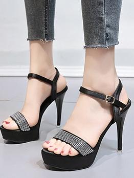 Chic High Heels Ladies Rhinestone Sandals